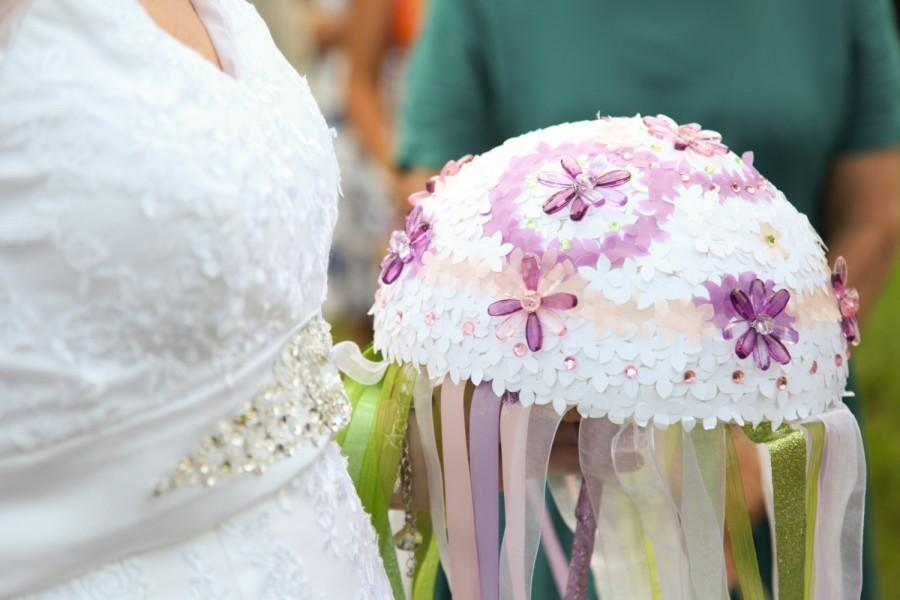 Wedding - Bejeweled Garden Bridal Bouquet Handmade with Paper Flowers, Jewels and Ribbon in Pink,Mint,Lilac,White with Upcycled Wooden Spoon Handle