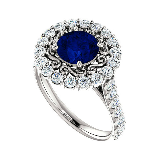 1 70 Ct 7mm Blue Sapphire & Diamond Halo Vintage Style Engagement Ring