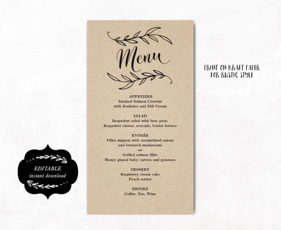 Wedding - Printable Wedding Menu Template, Kraft Wedding Menu, Simple and Elegant Menu - Instant DOWNLOAD - Editable Text, 4.25 x 7.75, MENU011