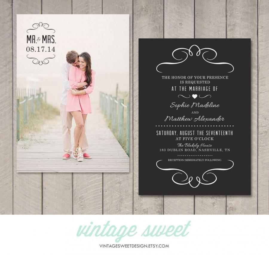 Wedding - Modern Wedding Invitation (Printable) DIY by Vintage Sweet