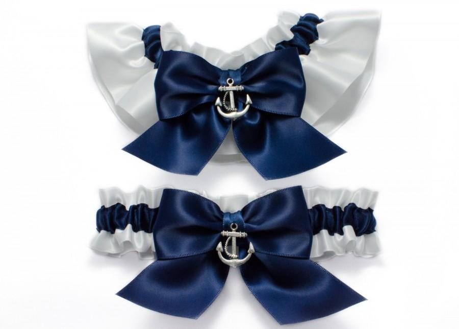 Wedding - Wedding garters - bridal garters - navy blue and white garters with silver anchors - navy blue garter set - blue garters- anchor garters