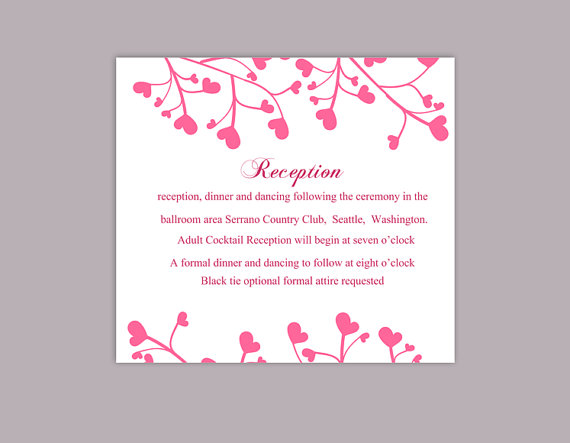 Wedding - DIY Wedding Details Card Template Editable Word File Instant Download Printable Details Card Pink Details Card Elegant Information Cards