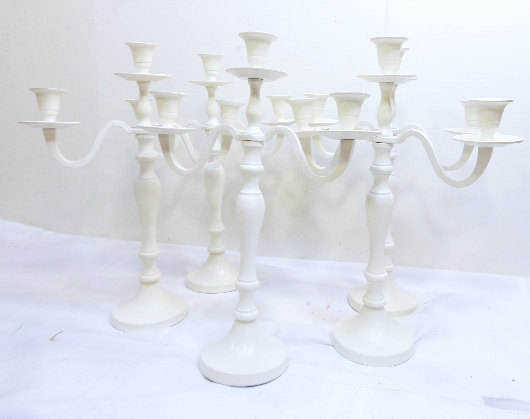 Mariage - 5 Wedding Candle Candelabras 3 arm Shabby Candle Holder  Creamy White