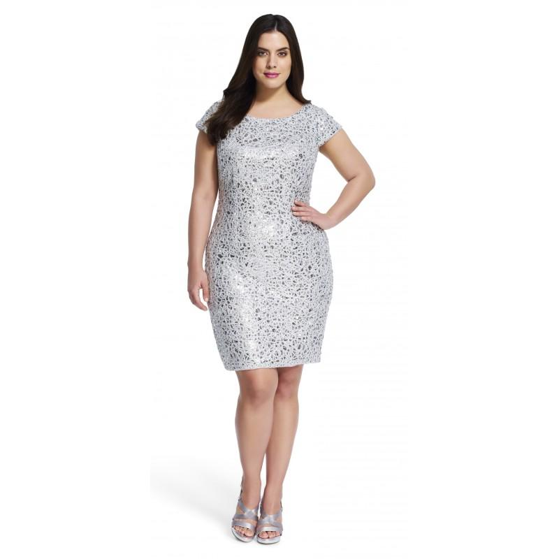 adrianna papell short sleeve sequin cocktail dress designer wedding dresses