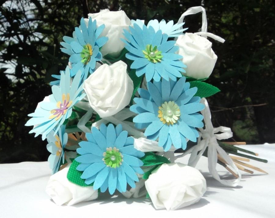 Mariage - Blue Paper Flower Bridal or Bridesmaid Bouquet, wedding bouquet