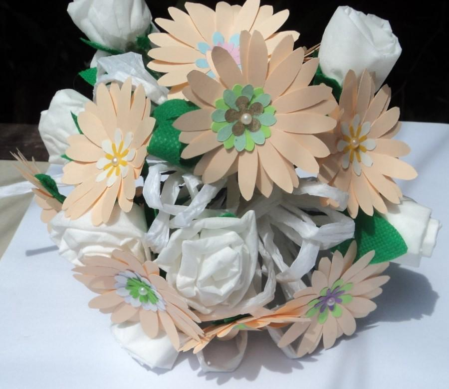 Свадьба - Peach Paper Flower Bridal or Bridesmaid Bouquet, wedding bouquet