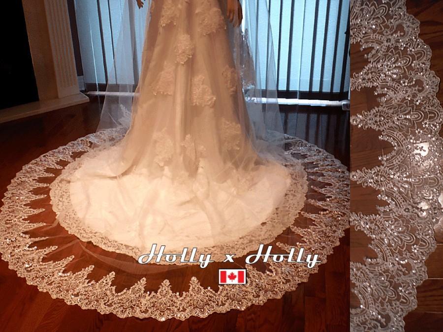 Wedding - ivory lace veil mantilla veil lace wedding veil crystal veil swarovski crystal veil