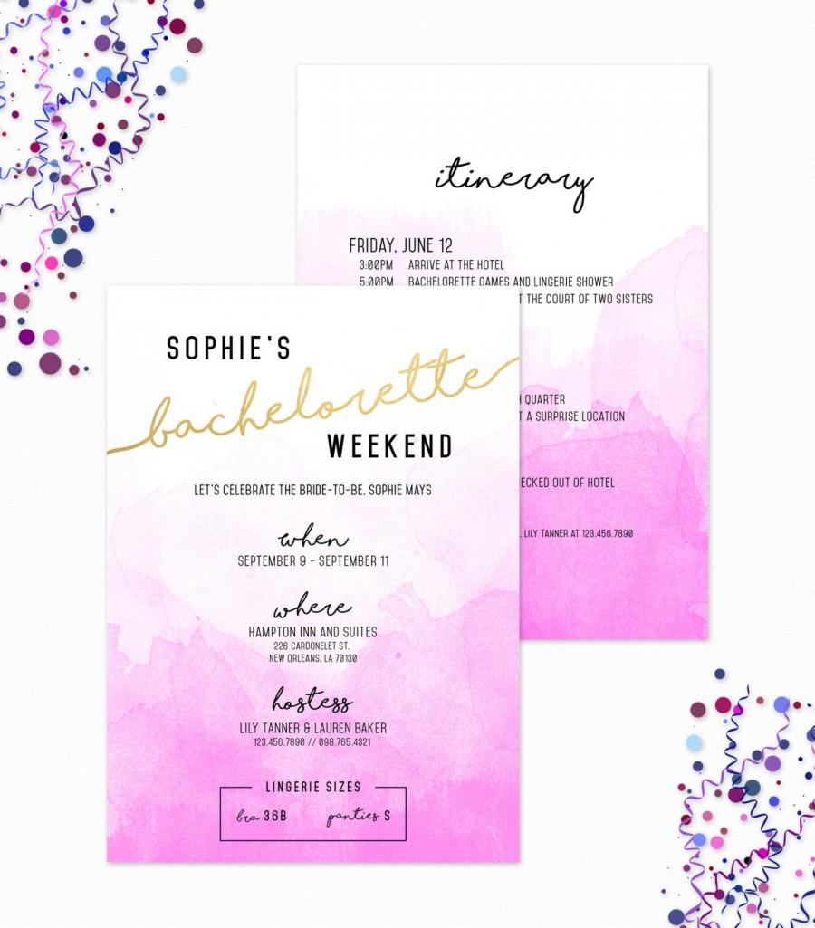 Свадьба - Printable Bachelorette Weekend Invitation, Girls Weekend Invite, Destination Bachelorette Party, Lingerie Shower