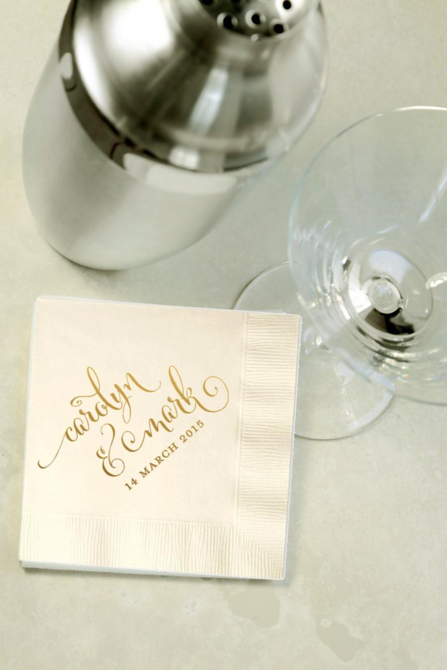Mariage - Custom Gold Foil Cocktail Napkins - Wedding Reception, Event, Shower - Choose Your Color, Beverage, Drink Size