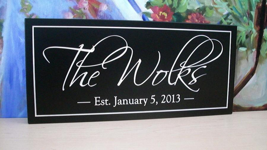 Wedding - FAMILY NAME Sign ..... Carved Personalized Family Name Sign, Anniversary gift, Wedding 6 x 16