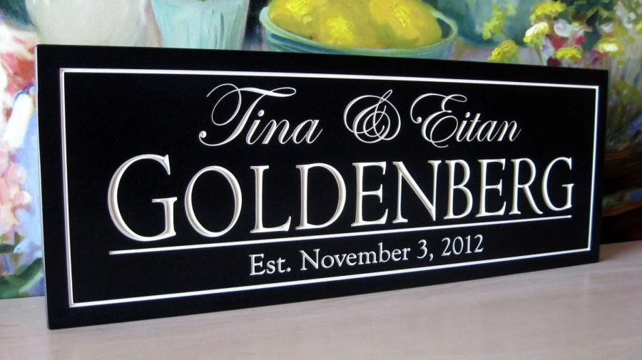 Свадьба - Personalized Bridal shower gift Last Name Sign Carved 6 x 16 Personalized Family Name Plaque Wedding Gift