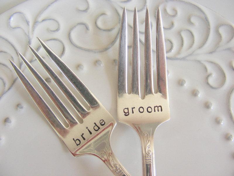 Mariage - Wedding Forks Bride and Groom Cake Forks