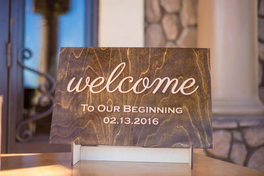 Wedding - Welcome Sign, Rustic Wedding Wooden Entrance Sign, Reception Signage, Welcome Bride Groom Names & Date, Wedding Decor, Ceremony Sign