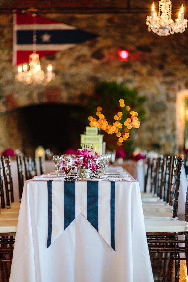 Duck Tail Navy And White Stripe Canopy Table Runners With