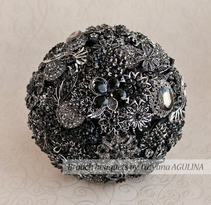 Свадьба - Brooch bouquet. Black and Silver wedding brooch bouquet, Jeweled Bouquet. Made upon request