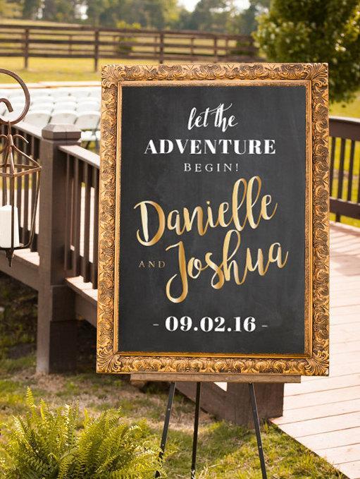 Свадьба - Gold Wedding Sign, Printable Wedding Sign, Let the Adventure Begin Wedding Sign, Large Wedding Sign, Reception Sign, Gold, Silver Chalkboard