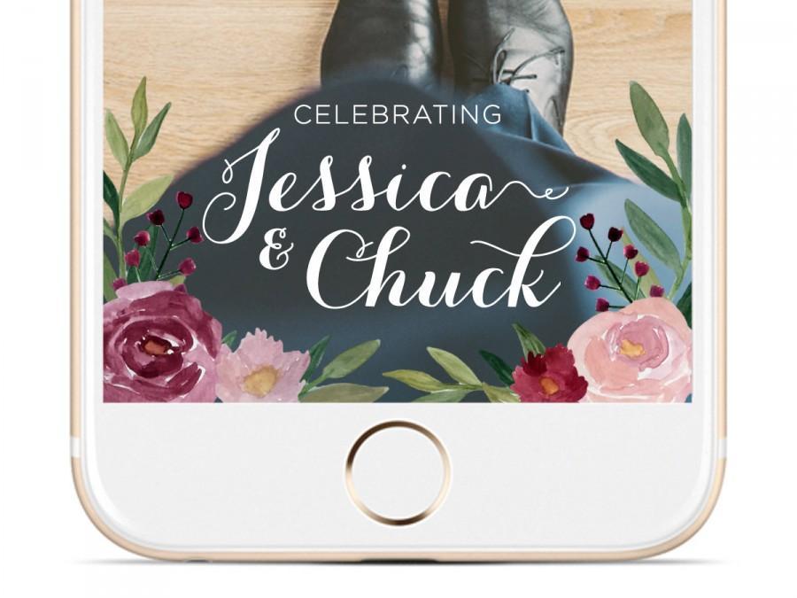 Wedding - Floral Watercolor Wedding Snapchat Geofilter