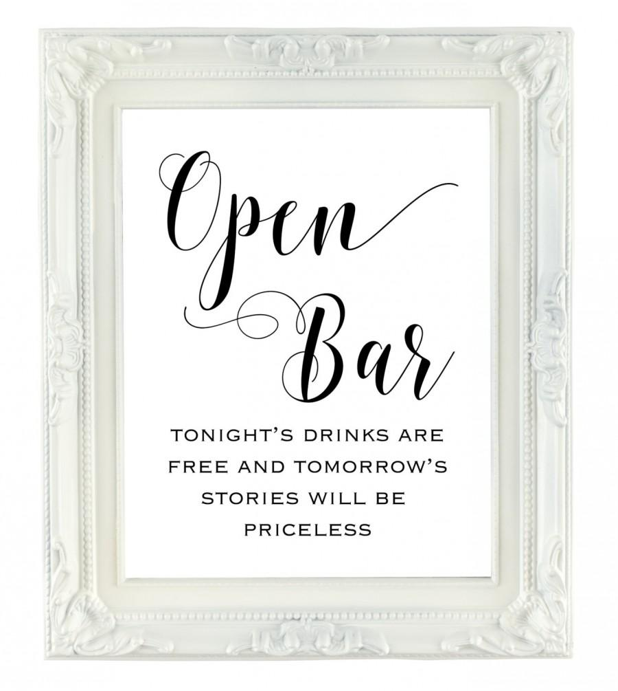photograph relating to Wedding Sign Printable identify Open up Bar Indicator, Printable Marriage ceremony Indicator, Tomorrows Reviews
