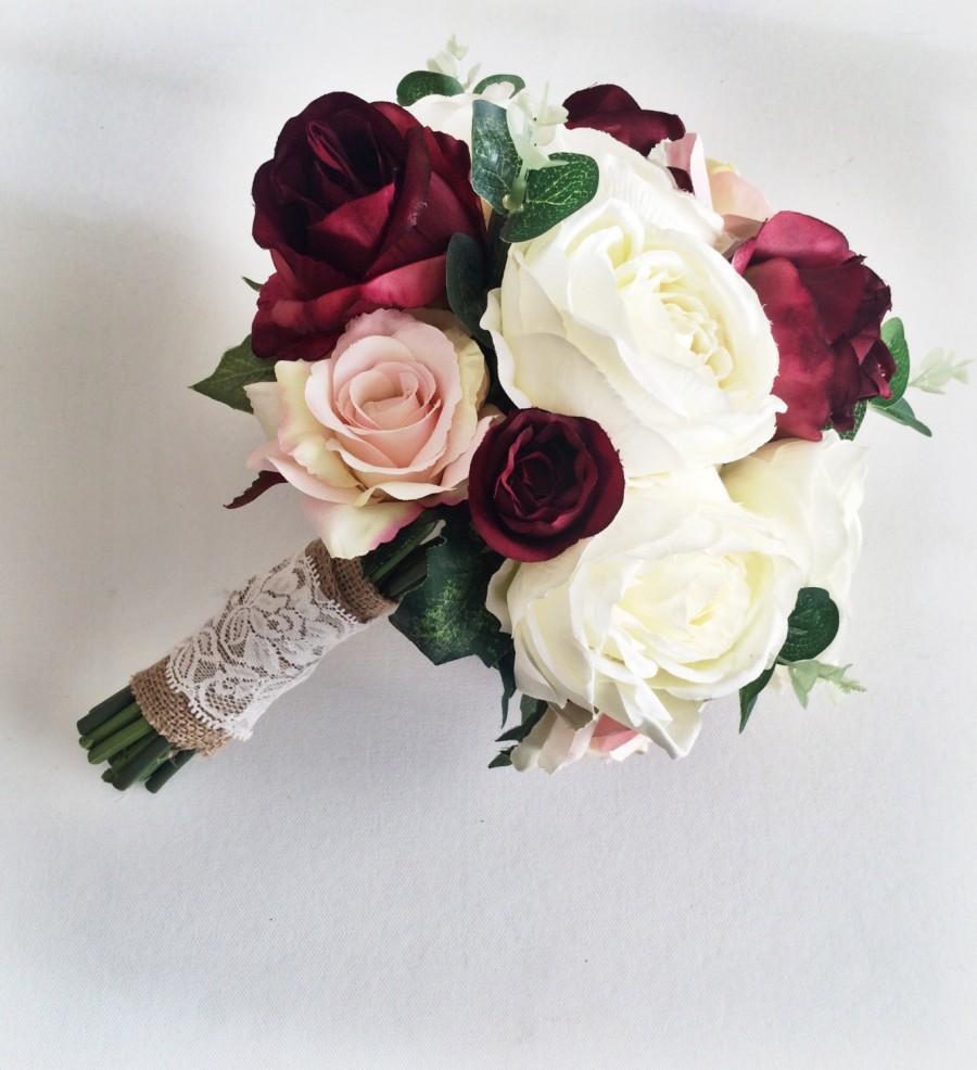 Marsala Burgundy Ivory Silk Bridal Bouquet Roses Peony Rustic Autum Wedding