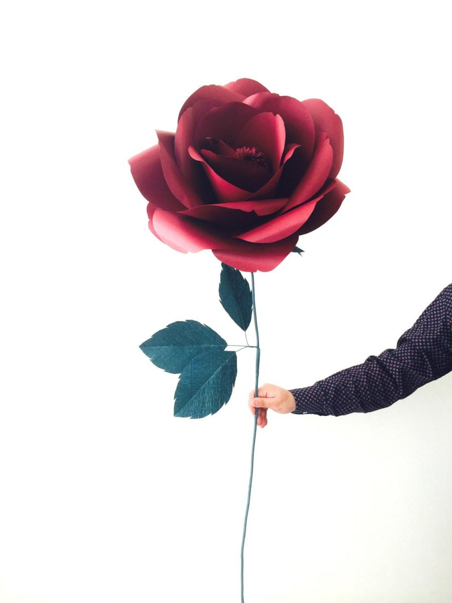 Huge Marsala Paper Flower Big Giant Large Single Rose Decorative
