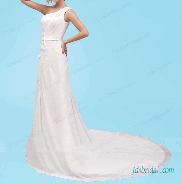 Свадьба - H1447 One shoulder modified a line chiffon wedding dress