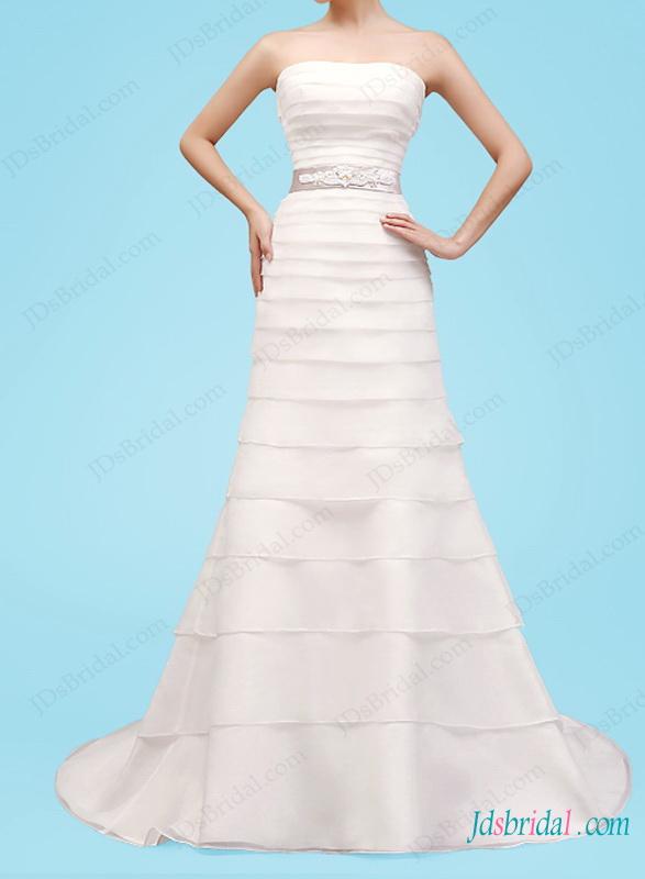 زفاف - H1448 Uinque tiered organza a line wedding dress with belt
