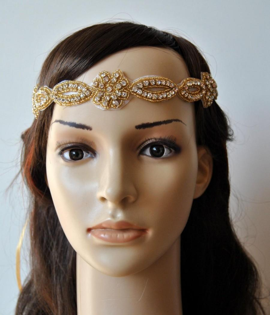 Wedding - Rhinestone Headband, Wedding Headband, Crystal Headband, Wedding beaded Headband, Halo Bridal Headpiece, 1920s Flapper headband, in Gold