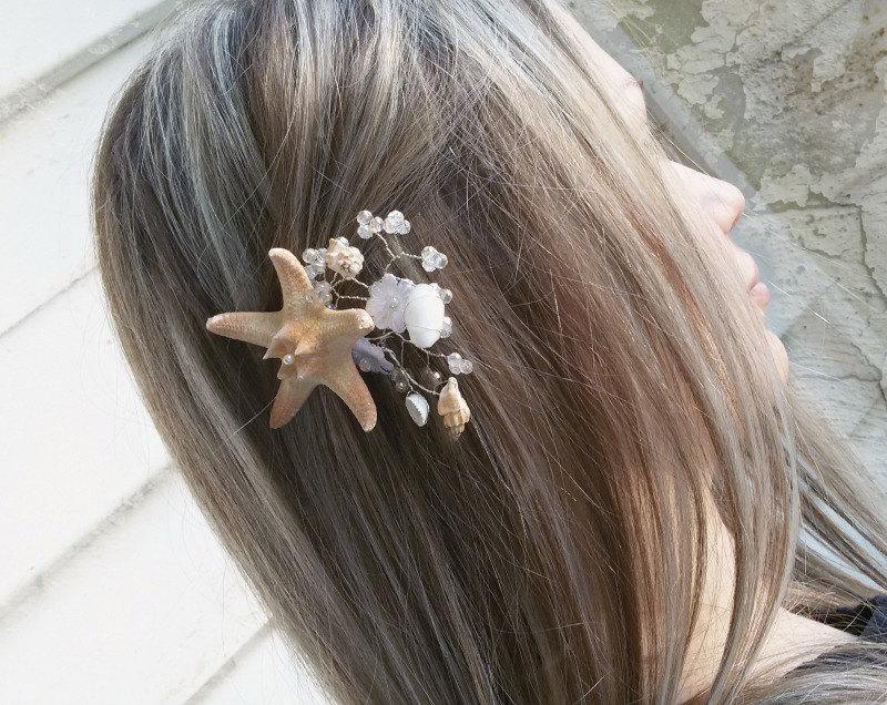 Wedding - Starfish, mermaid hair clip, Bridal hair pins, Fascinators, Starfish Hair accessories, seashell hair pins, Beach wedding, Pins for hair.