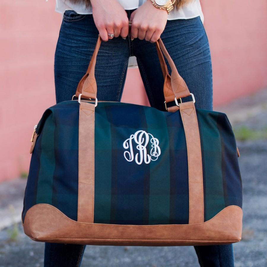 a658e46d80a6 Plaid Monogram Honeymoon Bag
