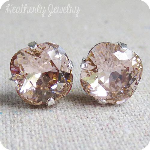 زفاف - Swarovski Crystal Blush Pink Post Earrings Cushion Cut Square Earrings Pale Pink Bridal Jewelry Wedding Earrings Bridesmaids Gifts