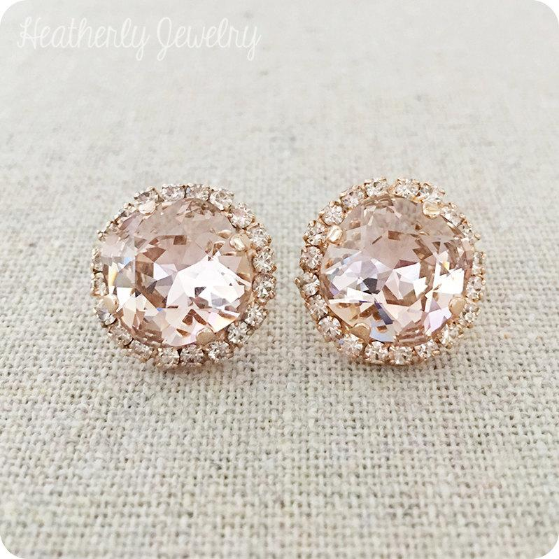 Mariage - Swarovski Crystal Post Earrings, Blush Pink Cushion Cut, Faux Diamond Pave Halo, Faux Morganite Rose Gold Bridal Jewelry, Bridesmaids Gifts
