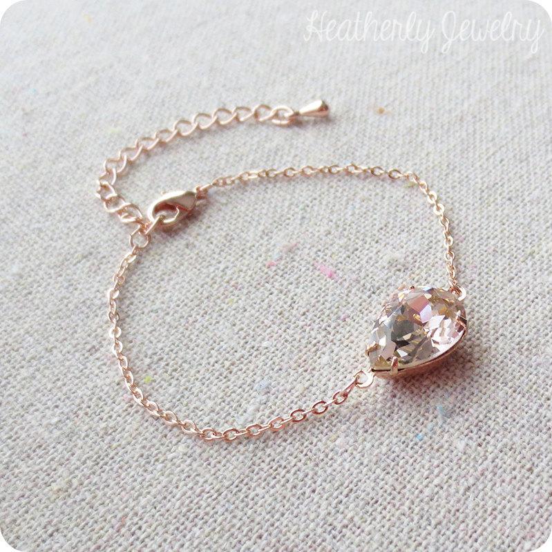 Swarovski Crystal Blush Bracelet Blush Pink Bridal Bracelet Rose