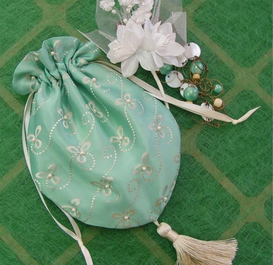 Mariage - Bride's Bag wedding formal Purse turquoise Mother of Bride drawstring style