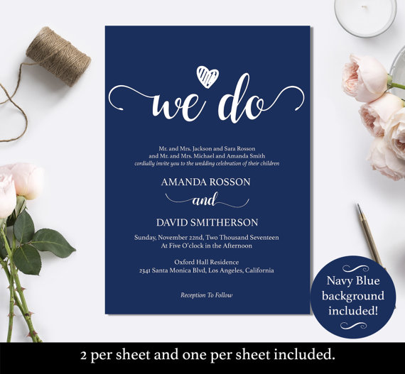 navy blue wedding invites instant download navy wedding