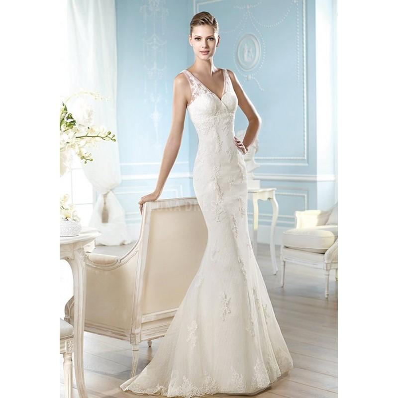 Wedding - Elegant Floor Length Mermaid V Neck Lace Bridal Gowns With Appliques - Compelling Wedding Dresses