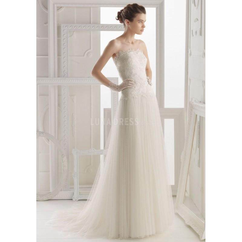 Wedding - A line Strapless Tulle & Lace Floor Length Chapel Train Wedding Dress With Flowers - Compelling Wedding Dresses