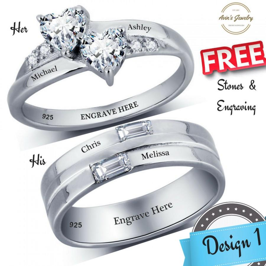 125c8c4cdf His and Her Promise Rings, Couples Promise Ring Set, Promise Rings for  Couples, Personalized Promise Ring Set, Matching, Bagues, Baguette