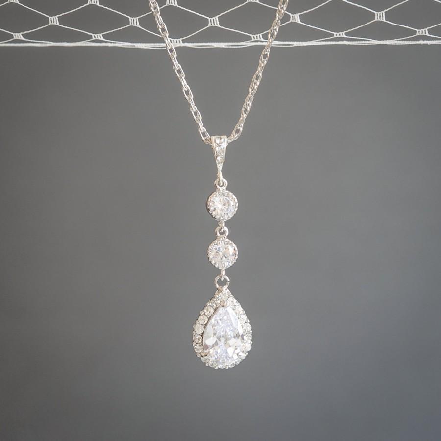 Mariage - Wedding Necklace, Sterling Silver Bridal Pendant Necklace, Crystal Teardrop Dangle Bridal Necklace, Wedding Bridal Statement Jewelry, HARLEY