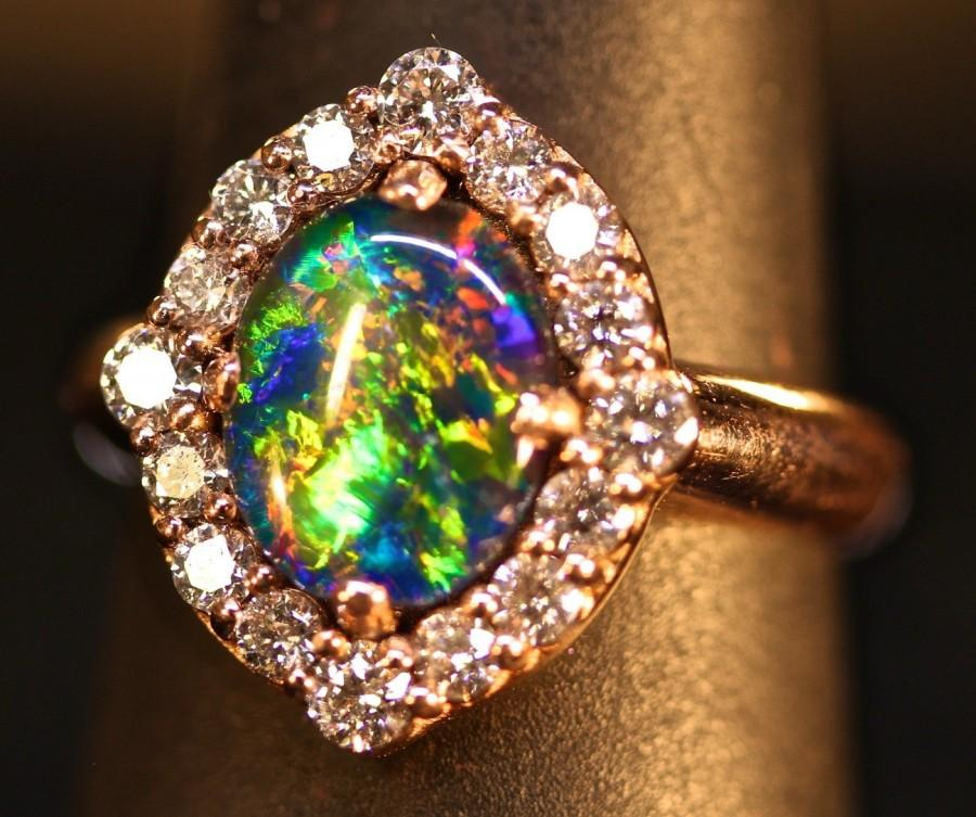 Wedding - Opal Halo Engagement Ring / Wedding + Band set. 14K, 10K Solid Gold, or S.S.Top Gem Grade opal w/ optional matching Wedding Band