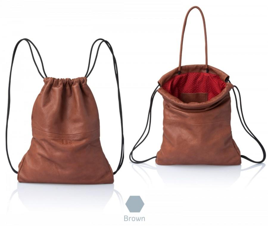 Mariage - Backpack brown leather backpack purse - multi-way sack bag SALE leather bag soft leather back bag handbag - drawstring backpack- rucksack