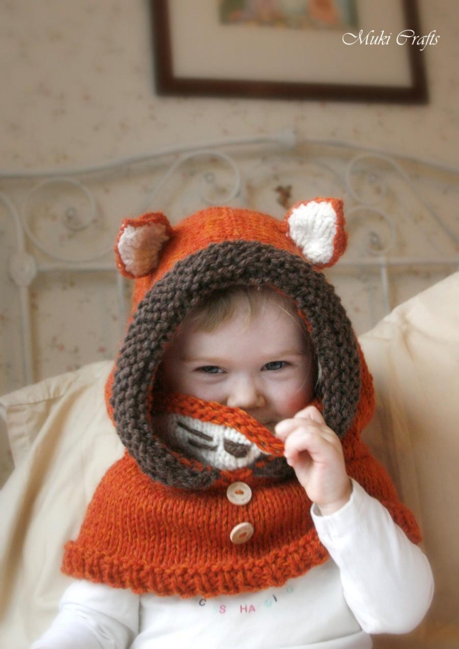 Wedding - Knit fox hood cowl Rene - PDF knitting pattern - in baby, toddler, child and adult sizes