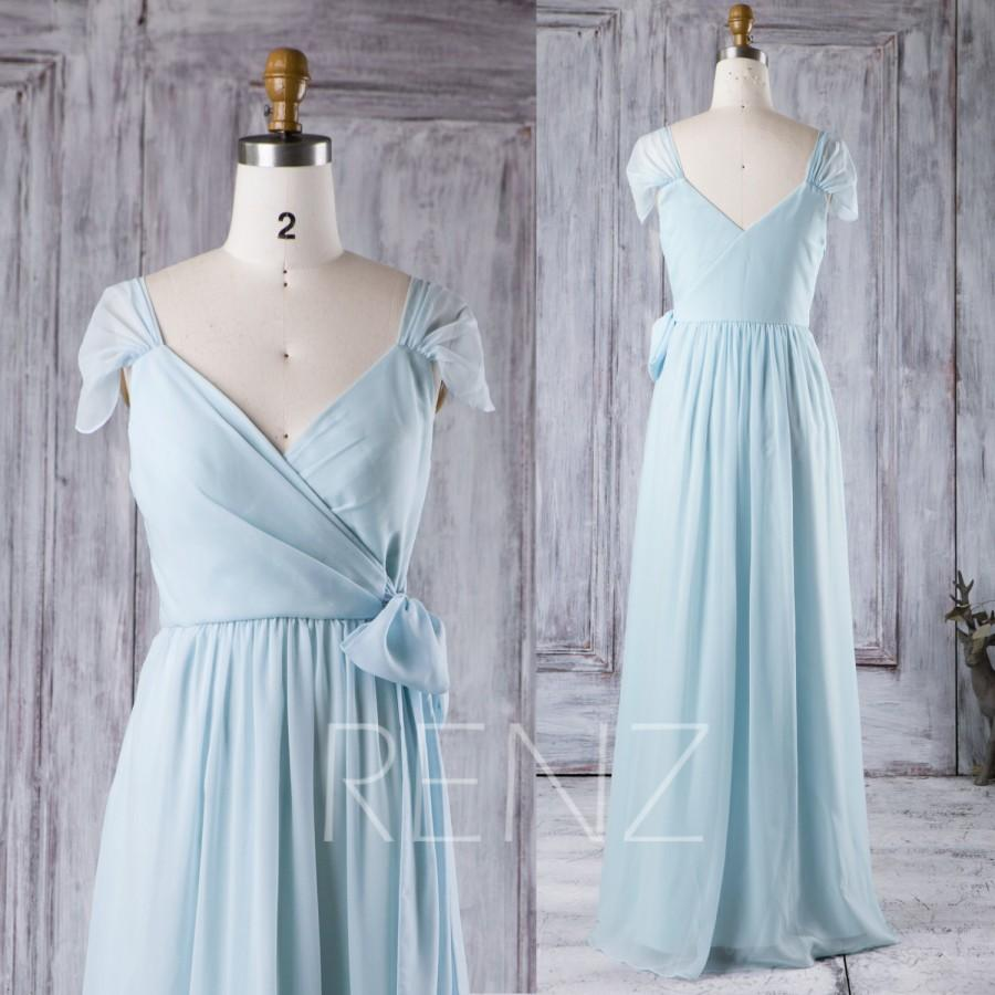 2016 baby blue bridesmaid dress cap sleeves wedding dress