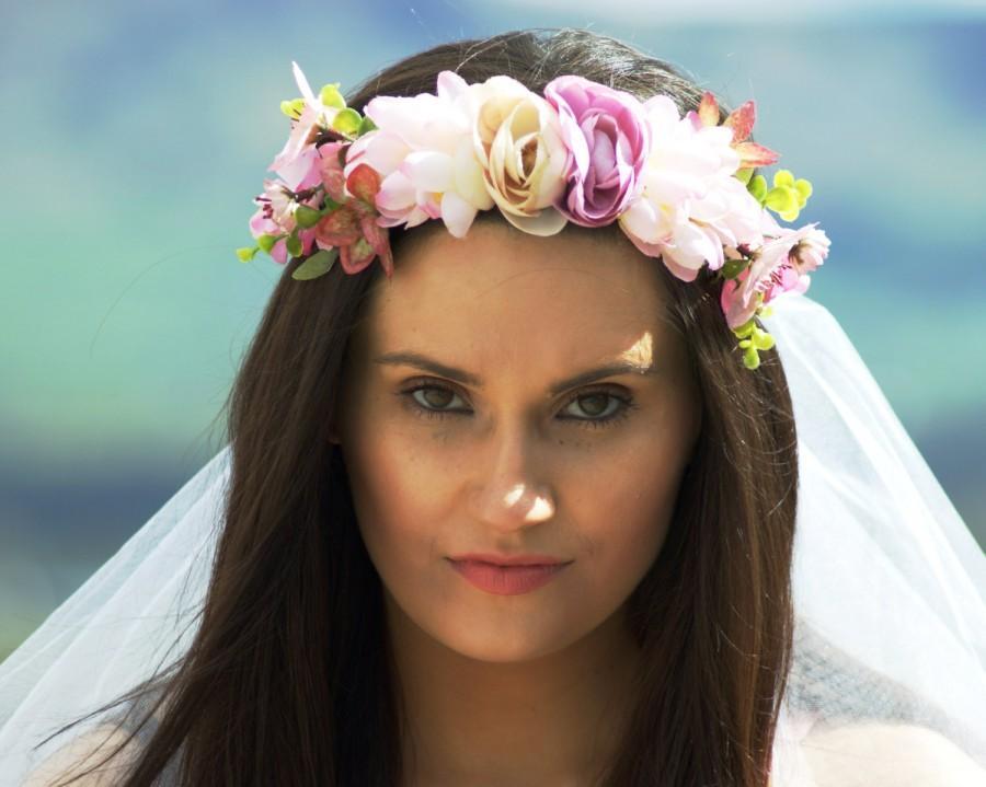 زفاف - Bridal Shower veil - Hen Party Veil Floral crown with veil boho / bachelorette