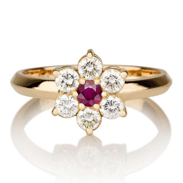 Mariage - Flower Shape Ruby Ring, 14K Gold Ring, 0.55 TCW Ruby Ring Vintage, Ruby Rings for Women, Diamond Ring Setting, Art Deco Ring