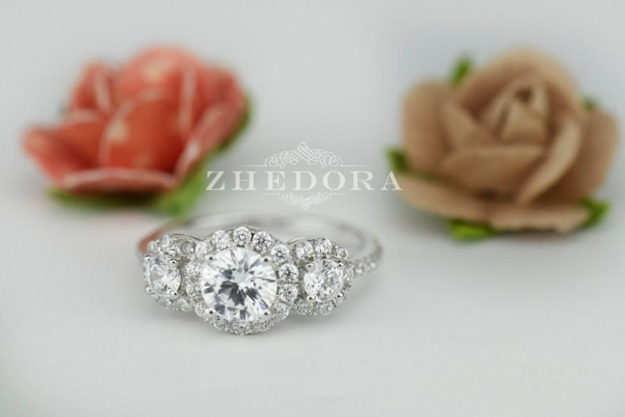 Wedding - 1.85 CT Engagement Ring Round Cut halo 14k SOLID White Gold Bridal Band