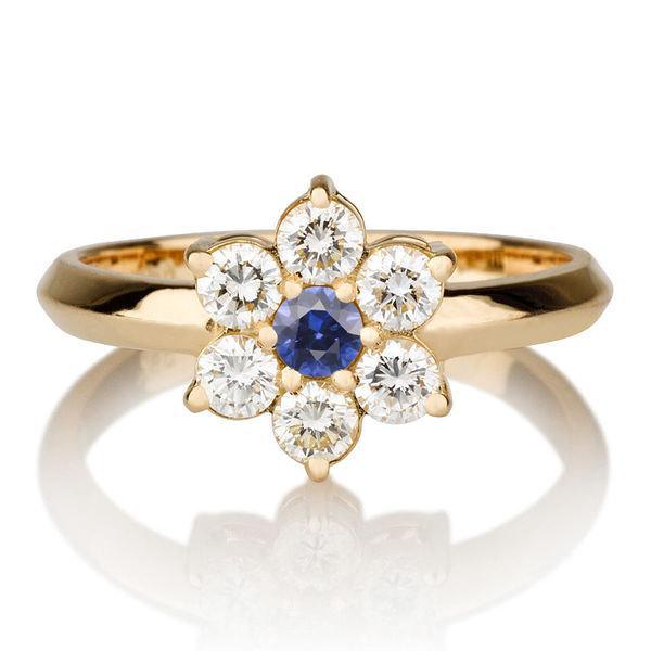 Wedding - Flower Shape Blue Sapphire Ring, 14K Gold Ring, 0.55 TCW Sapphire Ring Art Deco, Diamond Ring Setting, Unique Rings