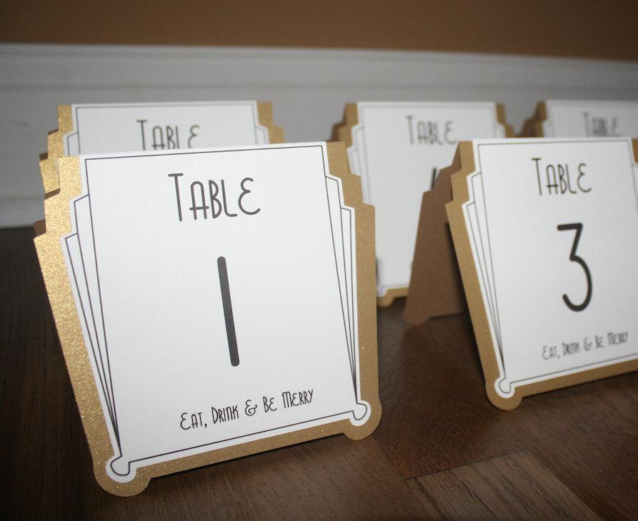 Свадьба - Art Deco Table Numbers Gold or Silver or Custom Color - Gatsby Weddings Roaring 20s Parties or any Special Occasions