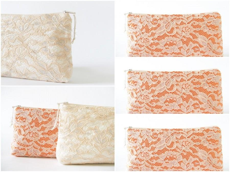 Свадьба - Be My Bridesmaid Set, Bridesmaids Lace Clutches, Peach and Silver Purses for Bridesmaids, Personalized Bridesmaid Bags