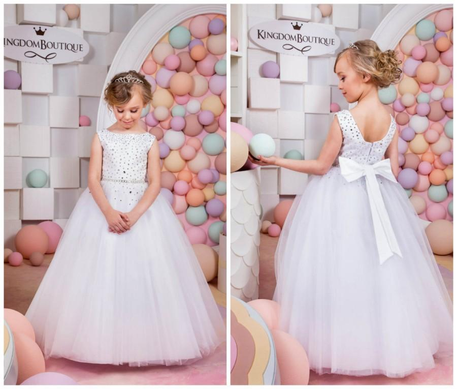 Mariage - White Flower Girl Dress - Holiday Bridesmaid Birthday Wedding Party White Flower Girl Tulle Dress