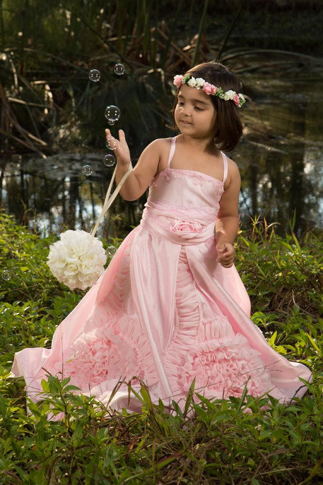 Свадьба - Gorgeous Pink ruffled vintage inspired Lace Sash Girls Special Occasion Dress